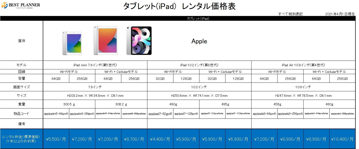 タブレット(iPad)価格表