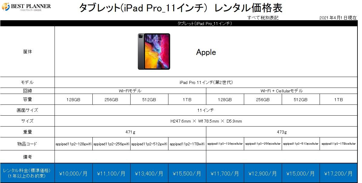 タブレット(iPad Pro_11インチ) 価格表