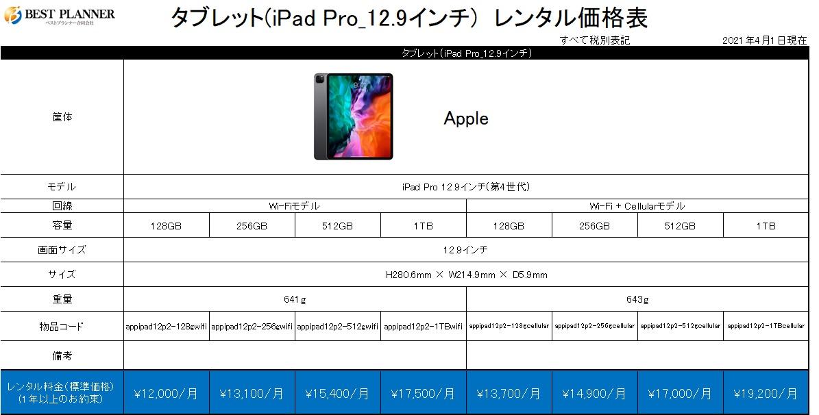 タブレット(iPad Pro_12.9インチ) 価格表