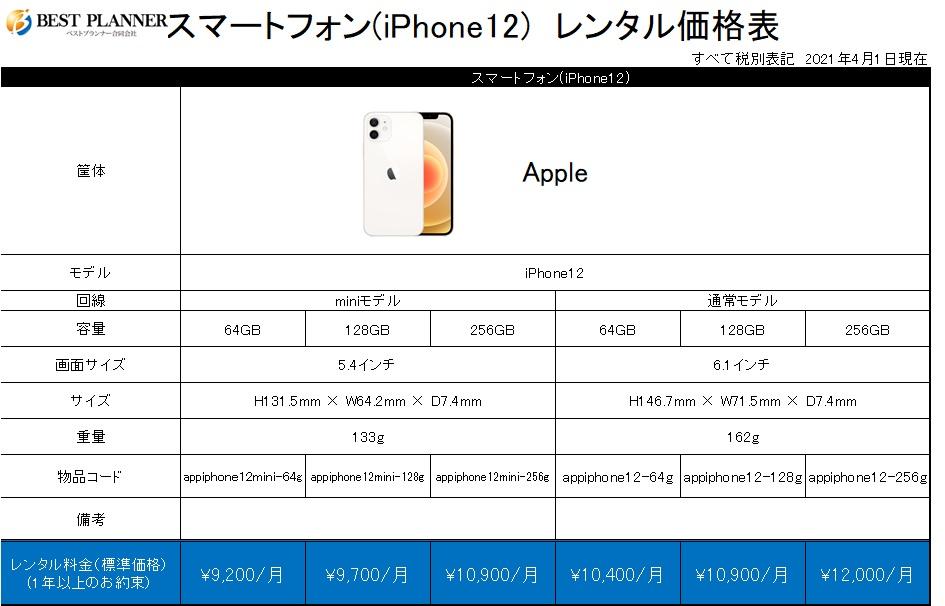 スマートフォン(iPhone12)価格表