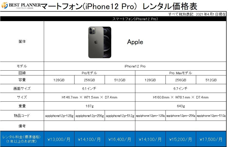 スマートフォン(iPhone12 Pro)価格表